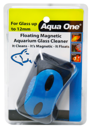AQUA ONE FLOATING ALGAE MAGNETIC CLEANER LARGE - SUITABLE FOR UP TO 12MM GLASS | Fishy Biz