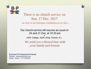 No Church Service on 17 Dec