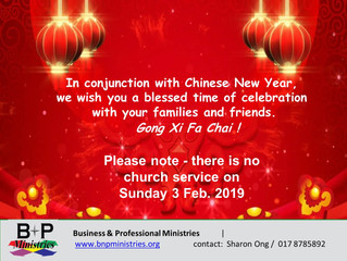 No Church Service on 3 Feb.