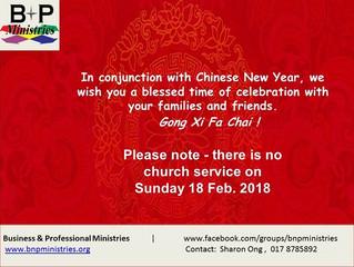 Notice: No Church Service on 18 Feb