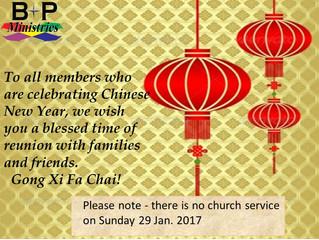 No Church Service on 29 Jan.