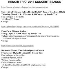 Renoir Trio, 2018 Concert Season Announc