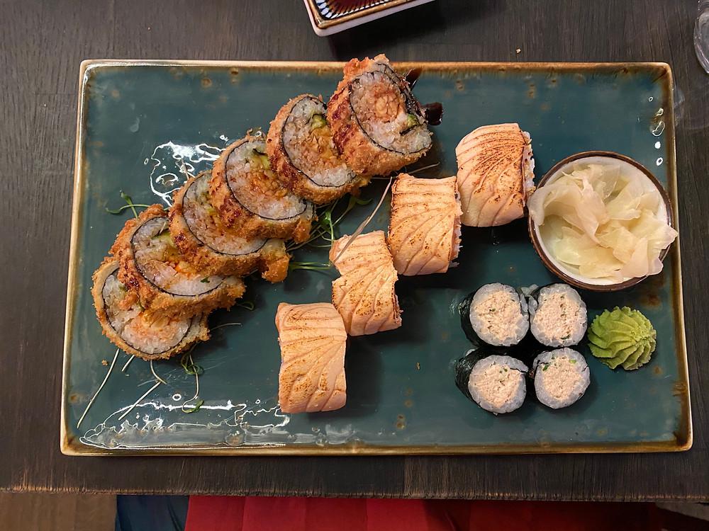 Prawn Tempura, Salmon, Tuna Maki