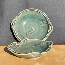 Celadon Handle Trays: 2 sizes; Large=12 to 13 in. diam. $130 Small are 9 in. diam. $70 Wavy or Round style with handles