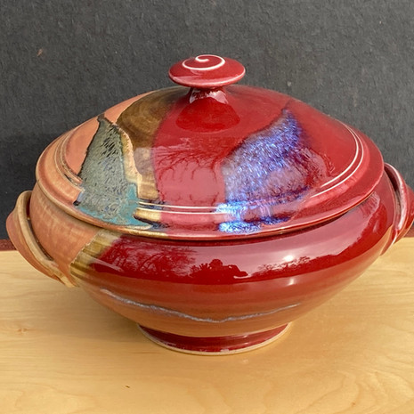 Red Lidded Casserole 10 in.diam. x 8 in. Ht.with handles / for baking $130