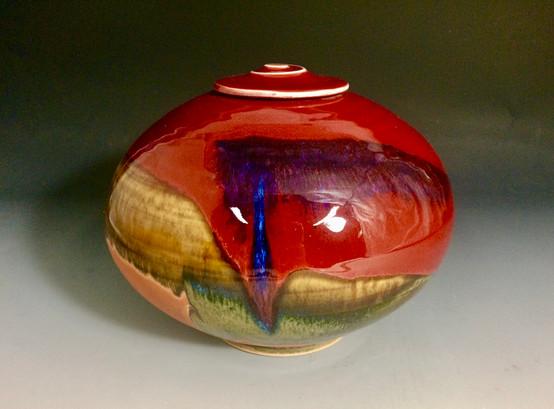 Copper Red Lidded Urn