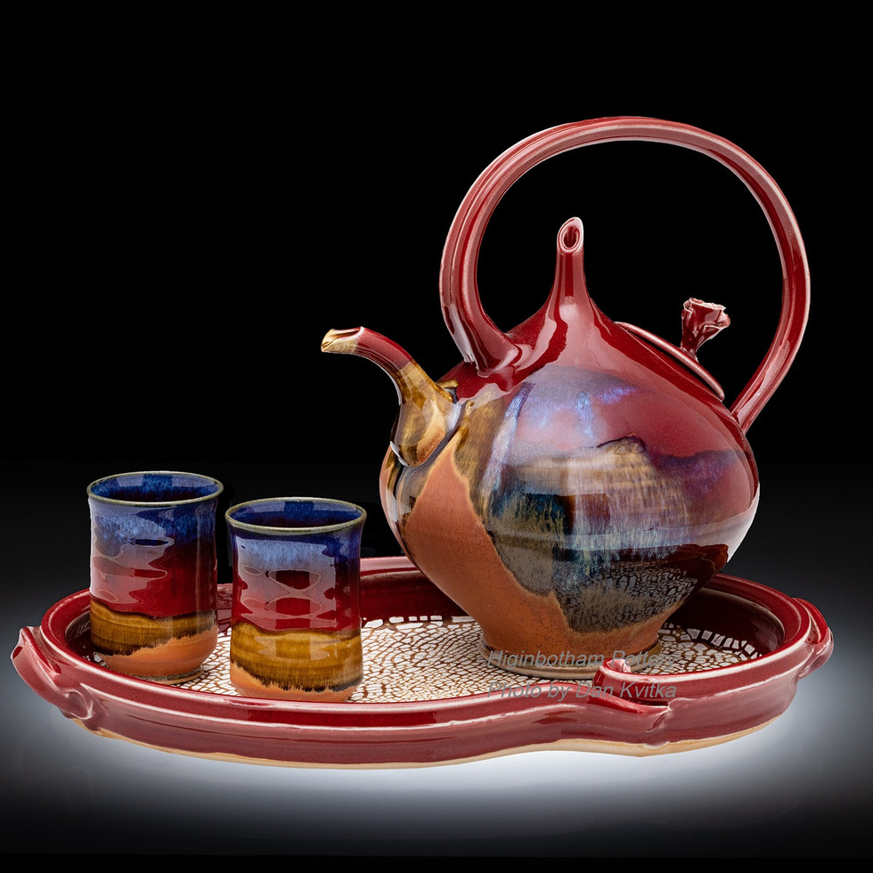 Rose Teapot/Crackle Tray/Kvitaka Photography