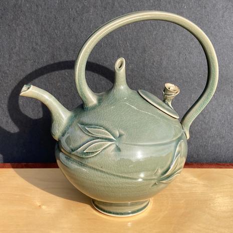 Celadon Rose Teapot 12 in.Ht. x 10 in. diam. $230