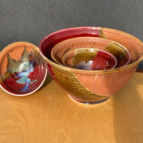 Mixing Bowls 'Medium-Large' 10 in. Ht.$95, 'Schmedium' 8 in.Ht.$65, Small 5 in. Ht $30 (I do make XL 'Bell' Mixing Bowls upon request)