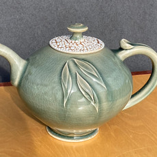 Celadon-Crackle Lid Granny Teapot 9 in. Ht.x 9 in. W $160