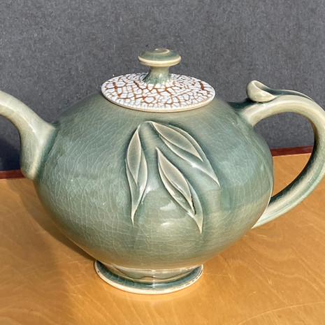 Celadon-Crackle Lid Granny Teapot 9 in. Ht.x 9 in. W $160
