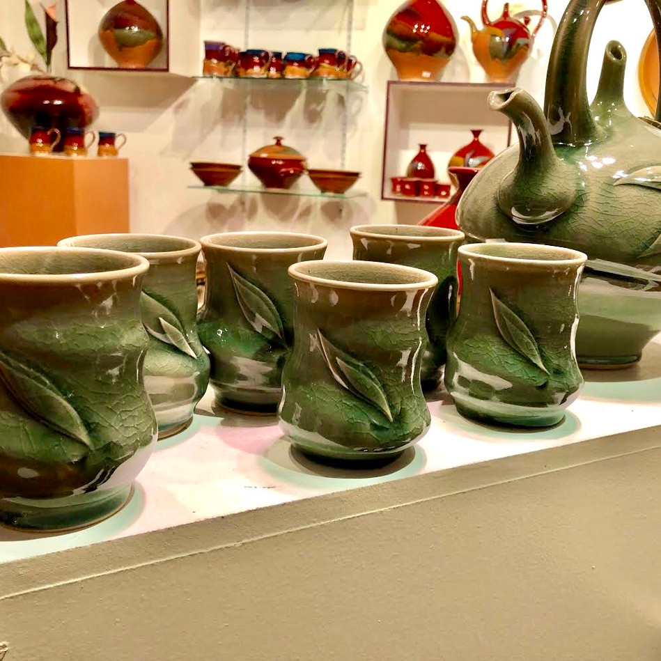 Celadon Leaf Cups and Teapot