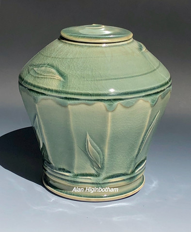 Celadon Leaf Facet Urn