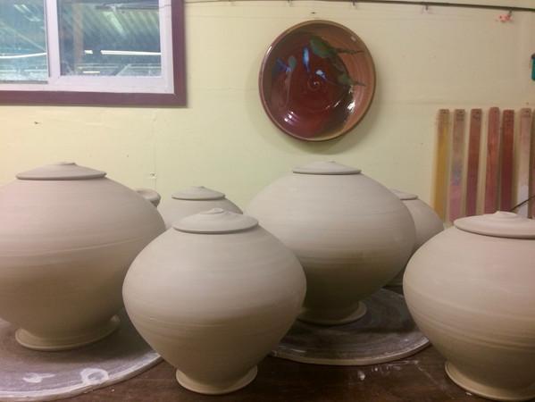 Urns ready for bisque firingIMG_9622 (1)