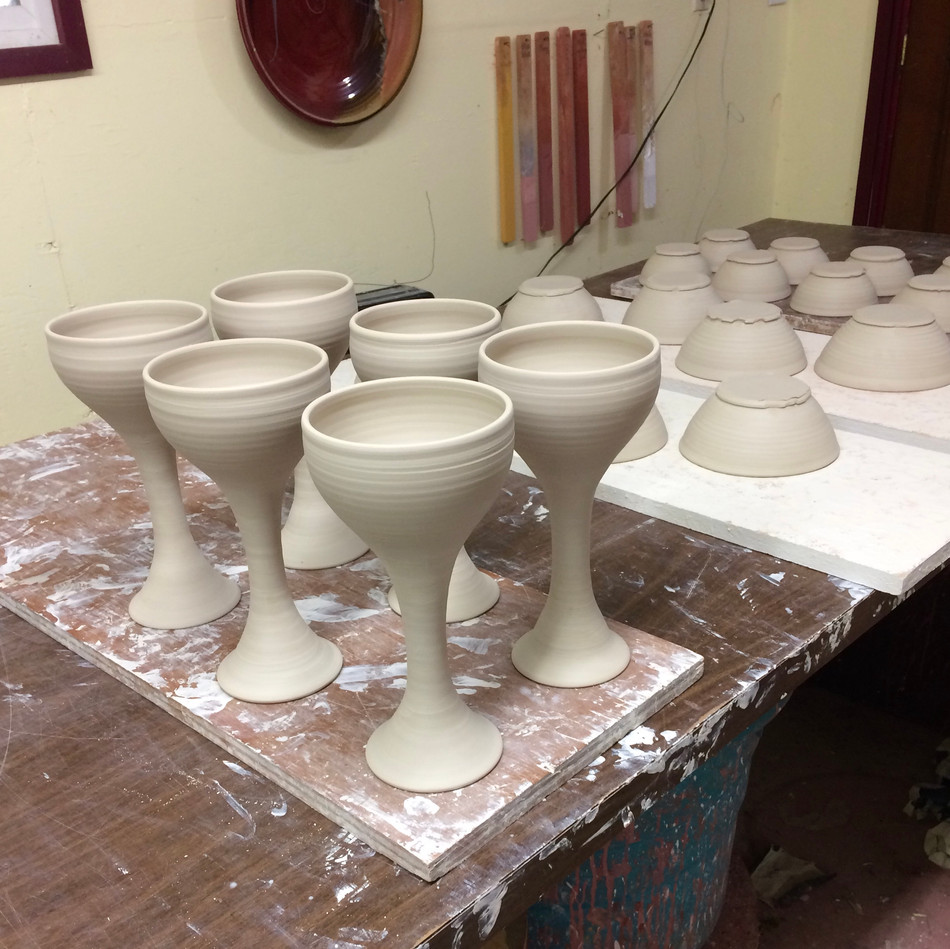 Tall Goblets assembled, drying for Bisque Fire IMG_0