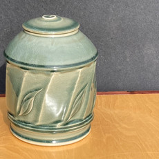 Celadon Faceted Urn 8.5 in Ht x 6.5 in diam.