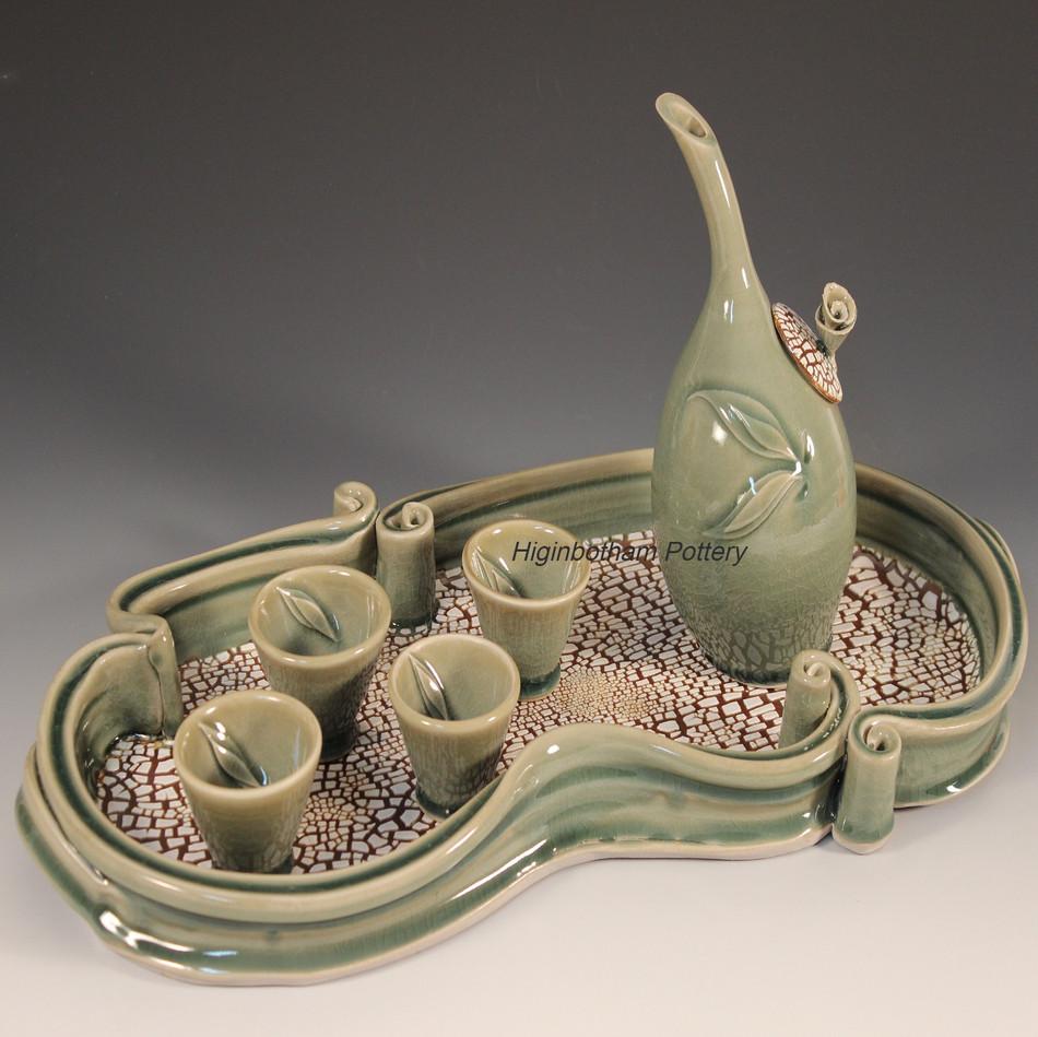 Celadon Crackle Sake Set