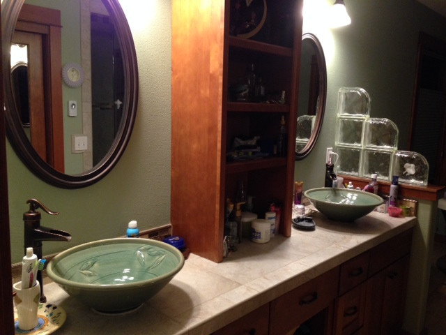 Twin Celadon Vessel Sink Installation