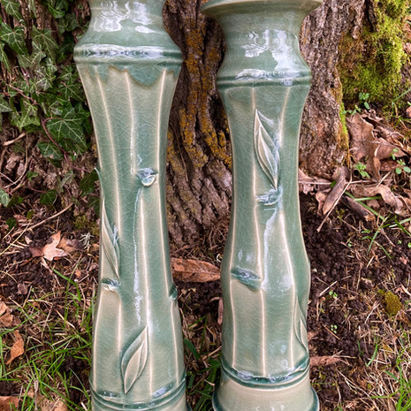 Tall Celadon Facet Vases 13 to 16 in. Ht. $130 (smaller) to $195 (X-Tall)