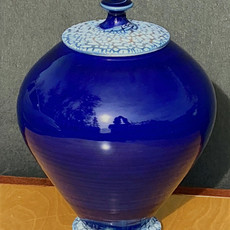 Cobalt Crackle Lid Urn sizes vary; average= 9 in. Ht. x 7 to 8 in. diam.