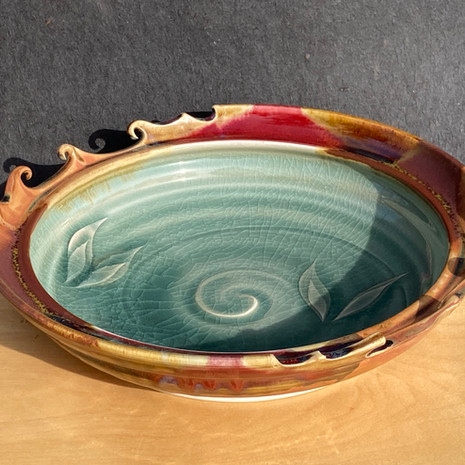 Celadon Madrone Carved Rim Platter 12 to14 in diam. $135-$140