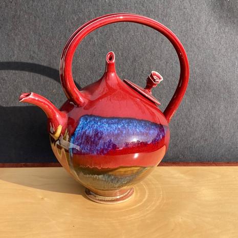 Red Rose Lid Teapot 12 inch Ht. x 10 diam. $225
