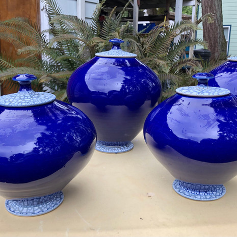 Cobalt Crackle Lid Urn sizes vary; average= 9 in. Ht. x 7 to 8 in. diam. (XL down to Pet urn sizes too)