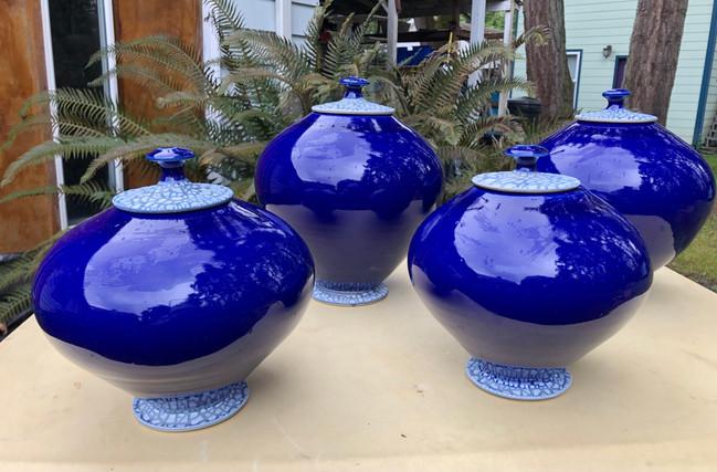 Cobalt Crackle Urns, 7 to 10 in. Ht .jpg