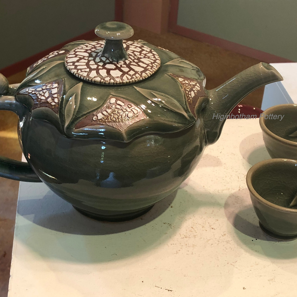 Celadon Crackle Teapot /Leaf Cups