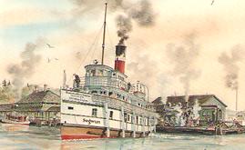 R.M.S. Segwun Leaving at Muskoka Wharf.p