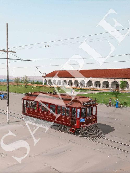 Red Car Visits San Fernando Mission