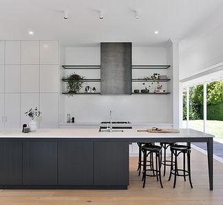 Modern black and white kitchen renovation