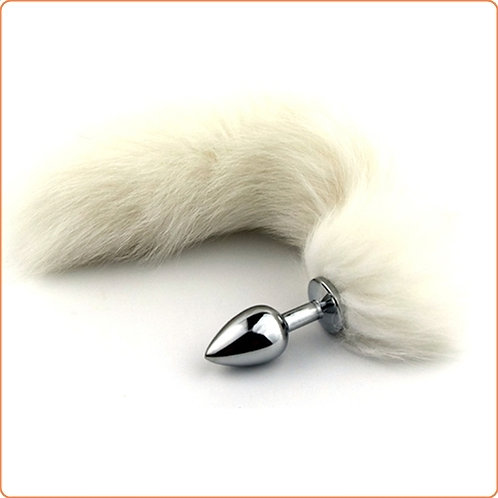White Arctic Fox Tail Butt Plug