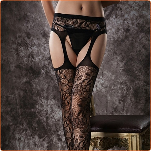 Black Rose Sexy Garter Stockings