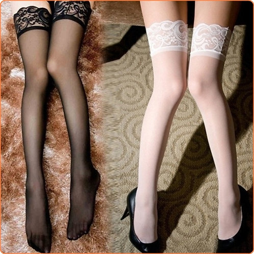 Hot Mesh Stockings With Floral Lace