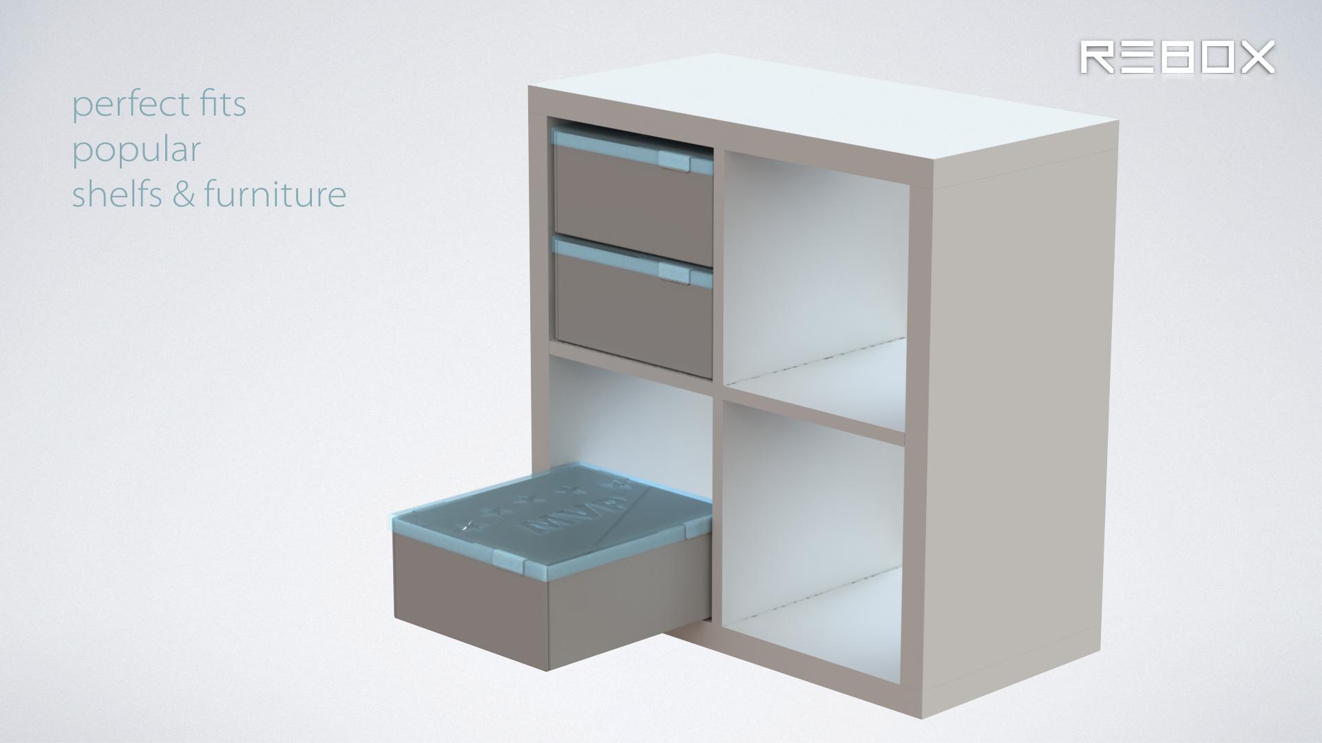 r3box storage box in Ikea Kallax