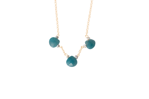 PIPPA - Blue Jade/Gold Filled Necklace