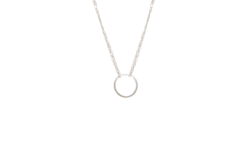 NATALIA - Sterling Silver Hammered Circle Necklace