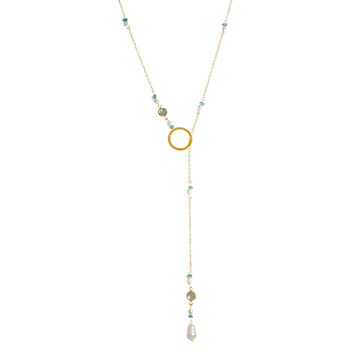 ELENA- Apatite/Fresh Water Pearl Necklace
