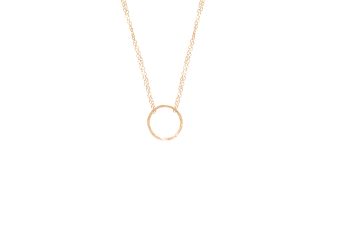NATALIA - Gold Filled Hammered Circle Necklace