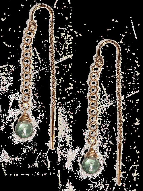MARDELLE - Green Crystal/Gold Filled Earrings