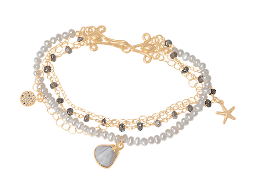 ARA - Pearl/Vermeil Bracelet w MOP Shell