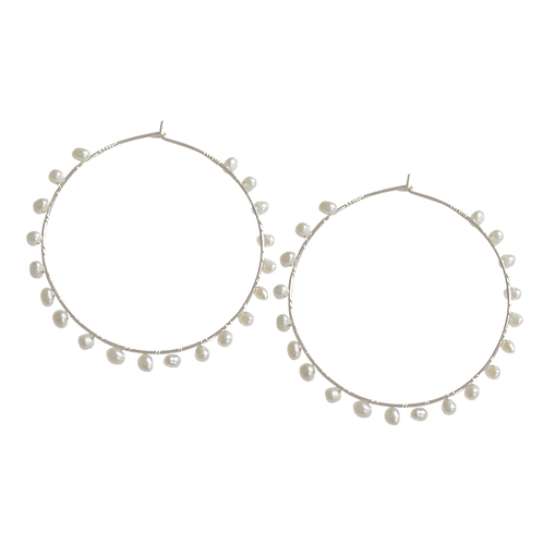 ALIA- Fresh Water Pearls/Sterling Silver Hoops
