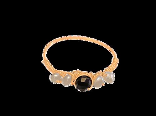 EVA - Black Spinel & Pearl/Gold Filled Ring
