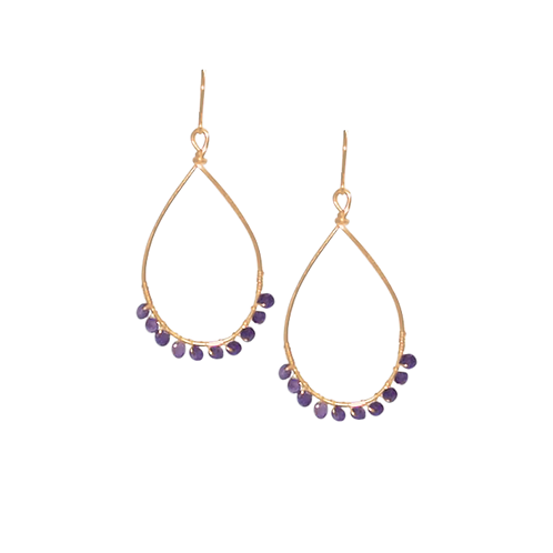 TEMPEST - Amethyst/Gold Filled Earring