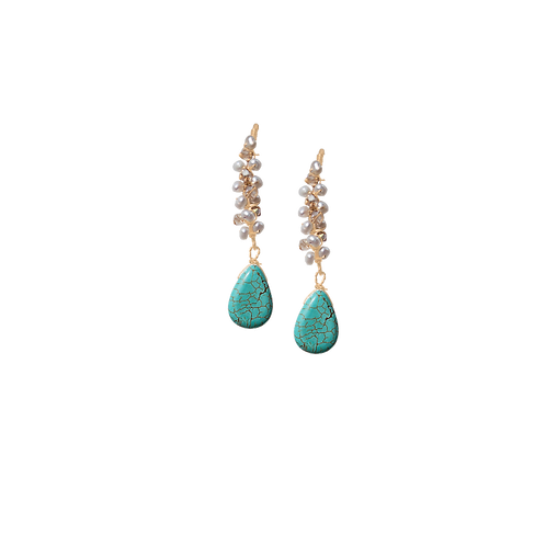 HALLIE - Pearl & Turquoise/Gold Filled Earrings