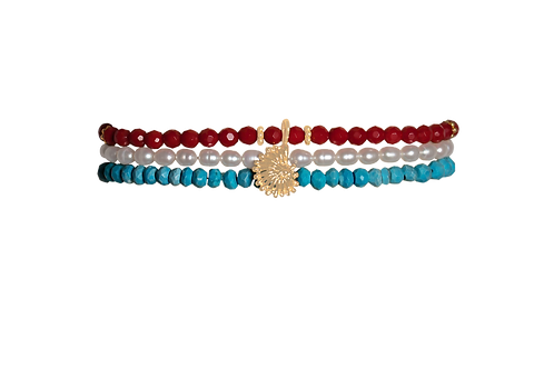 SADIE- Coral/Turquoise/FW Pearl Bracelets