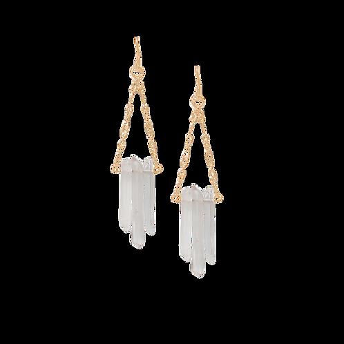 MARGO - Crystal Quartz Sticks/Gold Filled Earrings