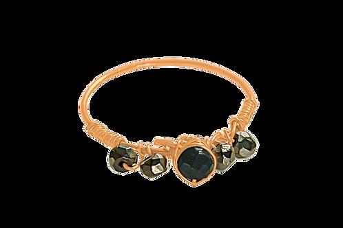 EVA - Pyrite & Black Spinel Mystic/GF Ring