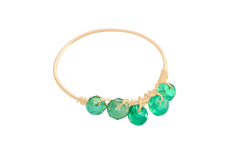 MISHA - Green Onyx/Gold Filled Ring